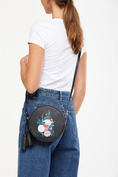 Round Cross Body Bag, BLACK WITH FLORAL