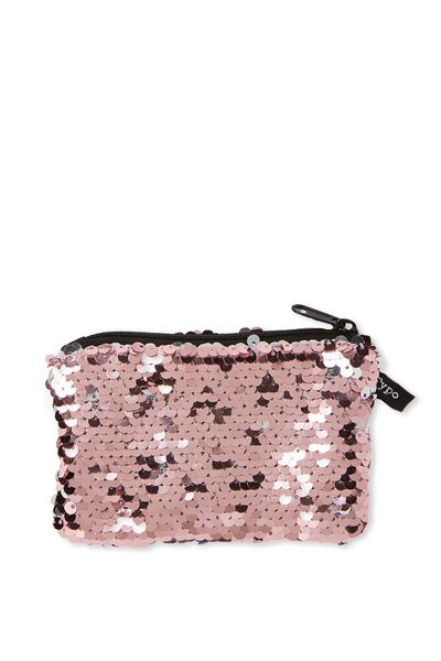 Penny Coin Purse, PINK & SILVER REVERSIBLE