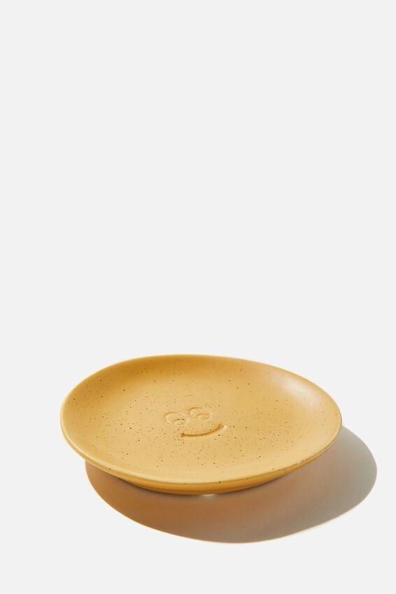 Mood Ceramic Tray, MUSTARD SPECKLE HAPPY FACE