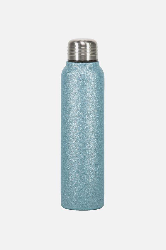 Small Metal Drink Bottle, BLUE GLITTER