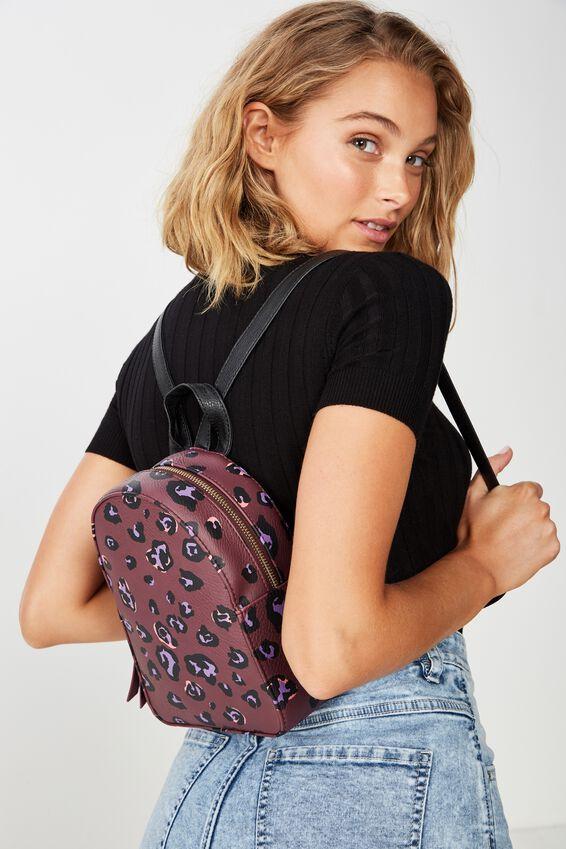 Mini Arch Backpack, BURGUNDY LEOPARD