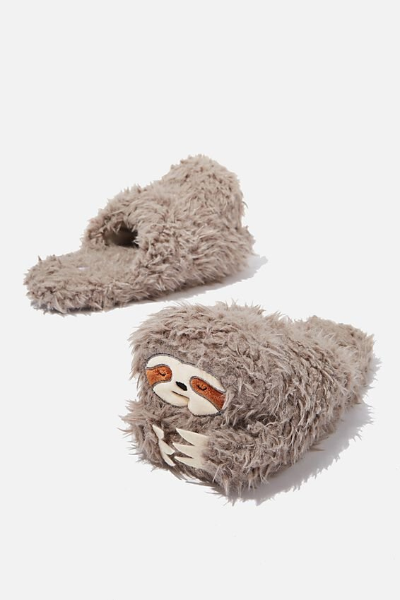 Novelty Slippers, GREY FURRY SLOTH