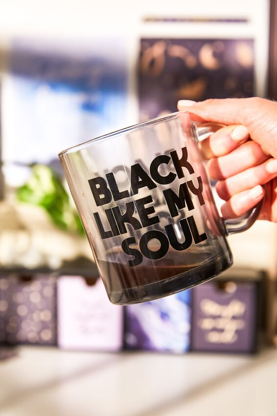 16Oz Glass Mug, BLACK LIKE MY SOUL
