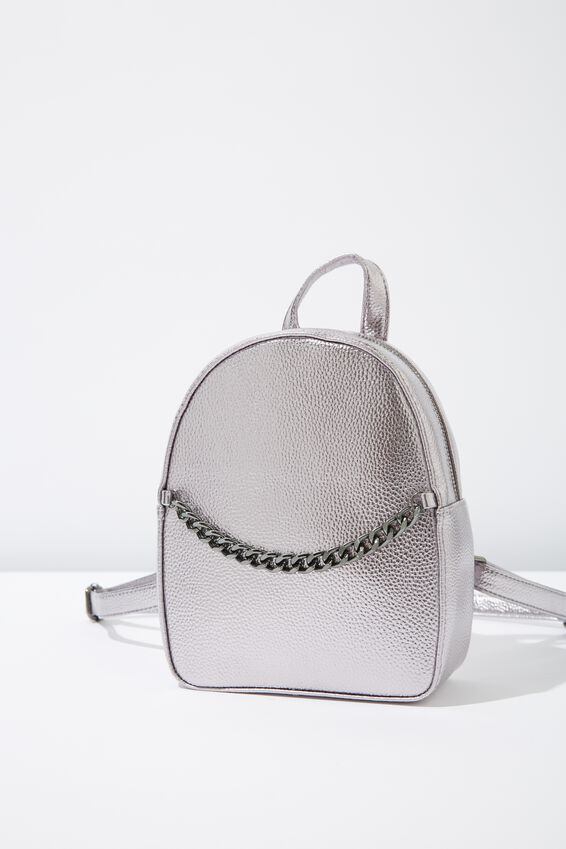 Mini Arch Backpack, GUNMETAL CHAIN