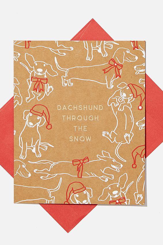 Christmas Card 2020, DACHSHUND THROUGH THE SNOW!