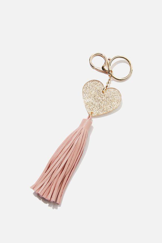 Bag Charm, GLITTER HEART TASSEL