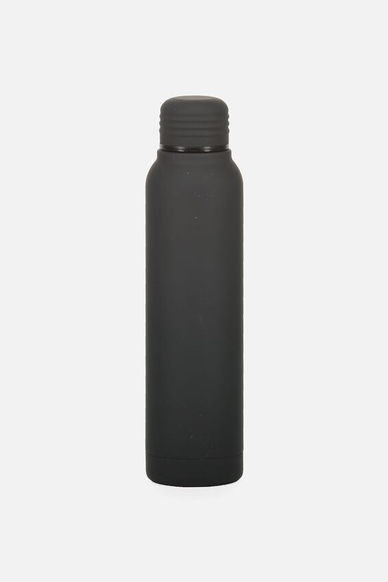 Small Metal Drink Bottle, BLACK RUBBER