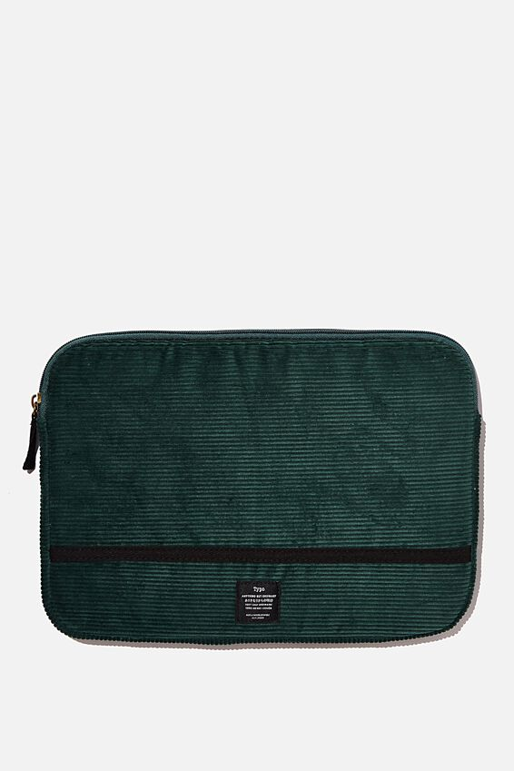 Corduroy Take Me Away 13 Inch Laptop Case, DEEP GREEN