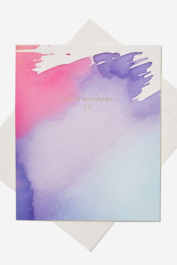 Nice Birthday Card, PURPLE WATERCOLOUR BIRTHDAY