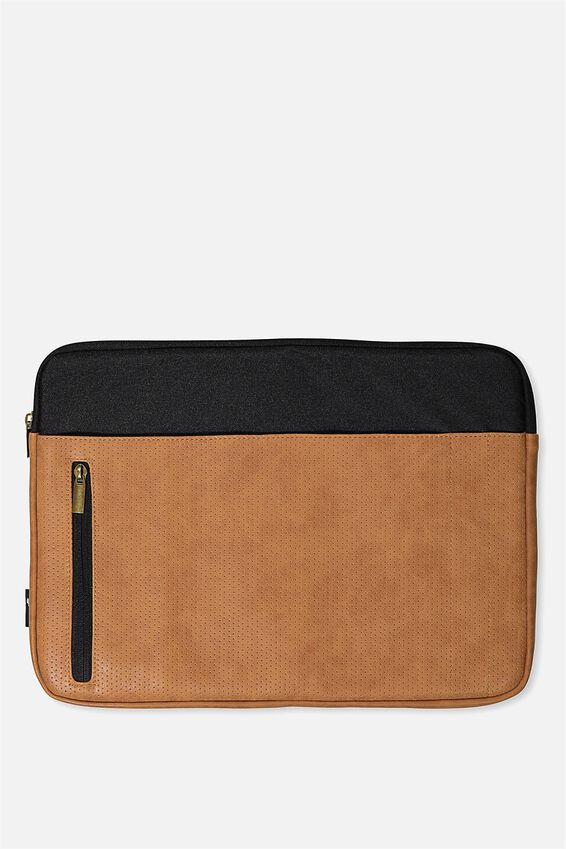 Take Charge 15 Inch Laptop Cover, BLACK & MID TAN