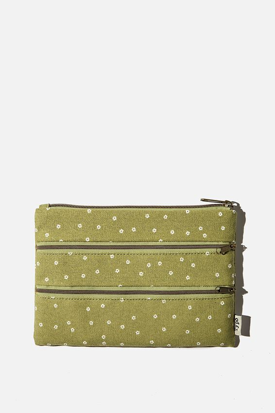 Double Archer Pencil Case, MICRO DAISY TUSSOCK