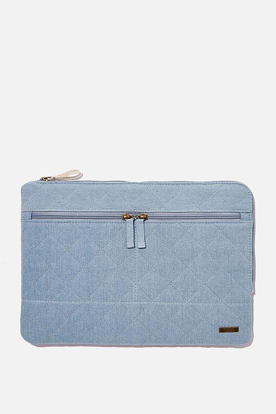 Denim Oxford 13 Inch Laptop Case, QUILTED DENIM