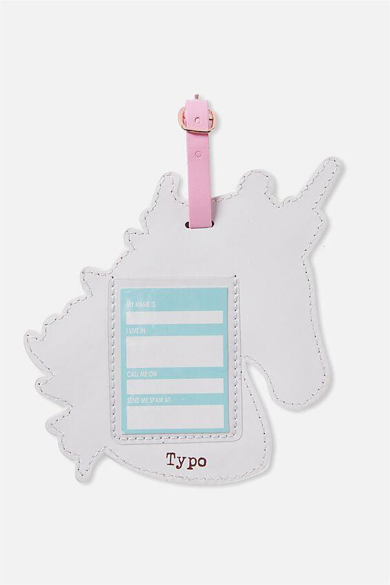 Shape Shifter Luggage Tag, PINK & WHITE UNICORN