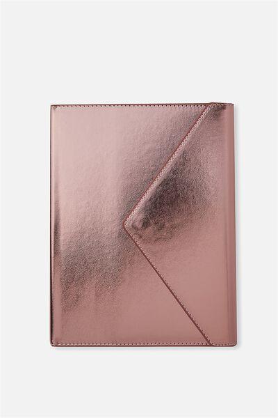 Magnetic Close Journal & Pen, ROSE GOLD AND BLUE SPLATTER
