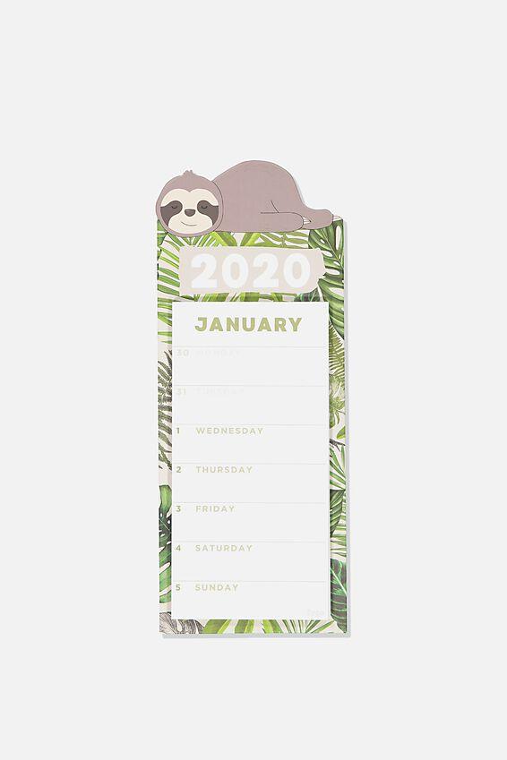 2020 Magnetic Memo Calendar, SLOTH