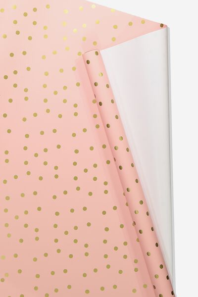 Roll Wrapping Paper, PEACH PINK POLKA