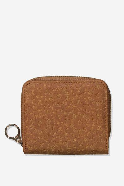 Mini Wallet, TILE TOOLED MID TAN