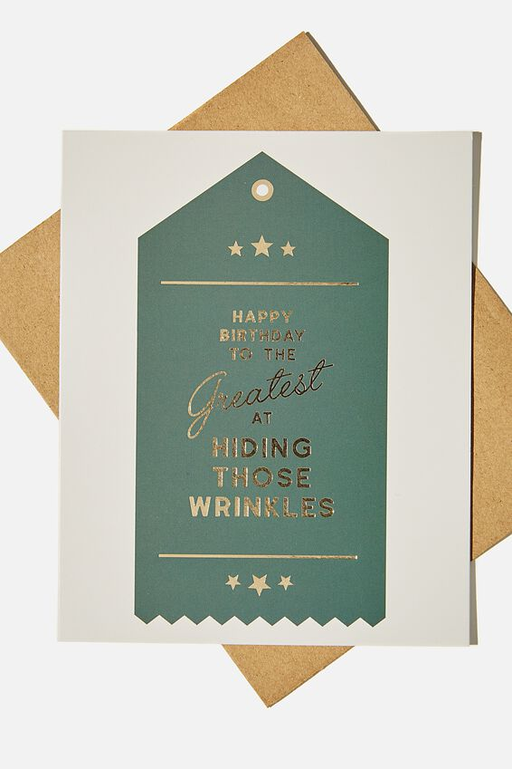 Funny Birthday Card, GREATEST AT HIDING WRINKLES RIBBON