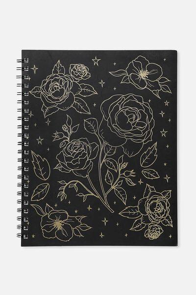 A4 Campus Notebook - 240 Pages, BLACK FOIL FLORAL
