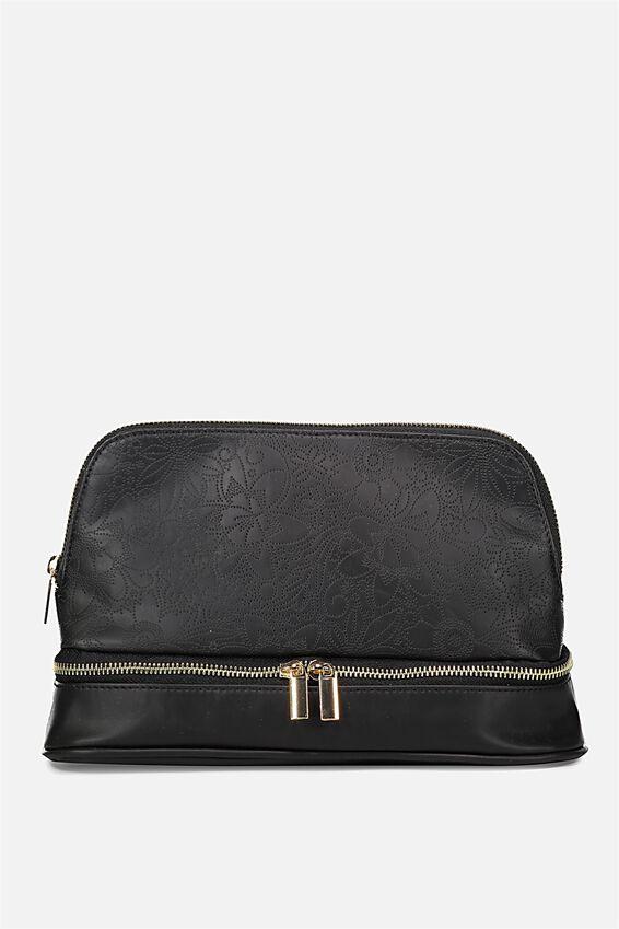 Cachet Wash Bag, BLACK LACE FLORAL