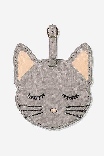 Shape Shifter Luggage Tag, GREY CAT