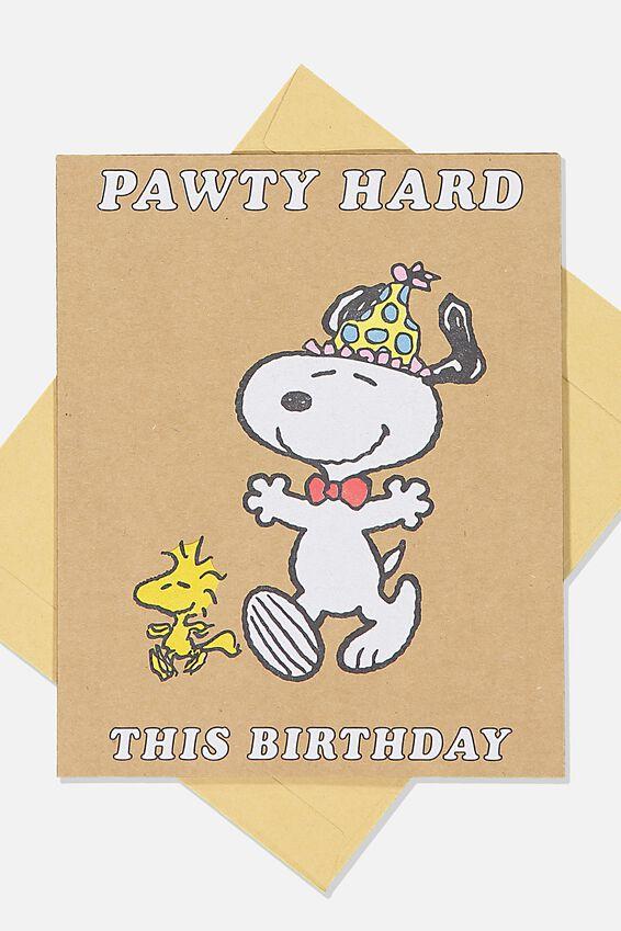 Snoopy Funny Birthday Card, LCN PEA PAWTY HARD