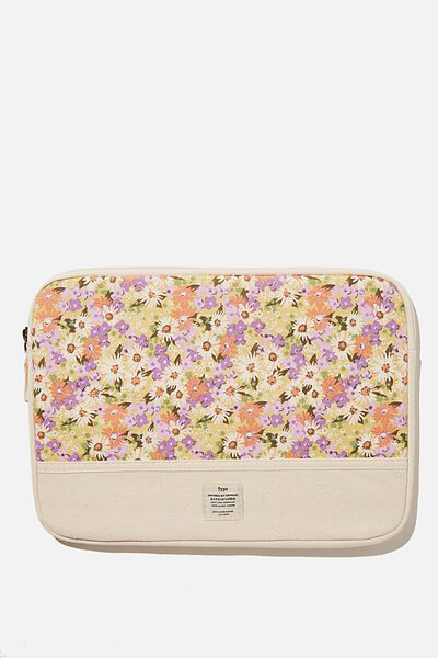 Canvas 13 Inch Laptop Case, PASTEL 70S DITSY WITH OFF WHITE SPLICE
