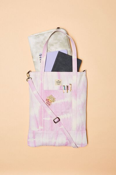 Book Tote Bag, TIE DYE STRIPE LILAC