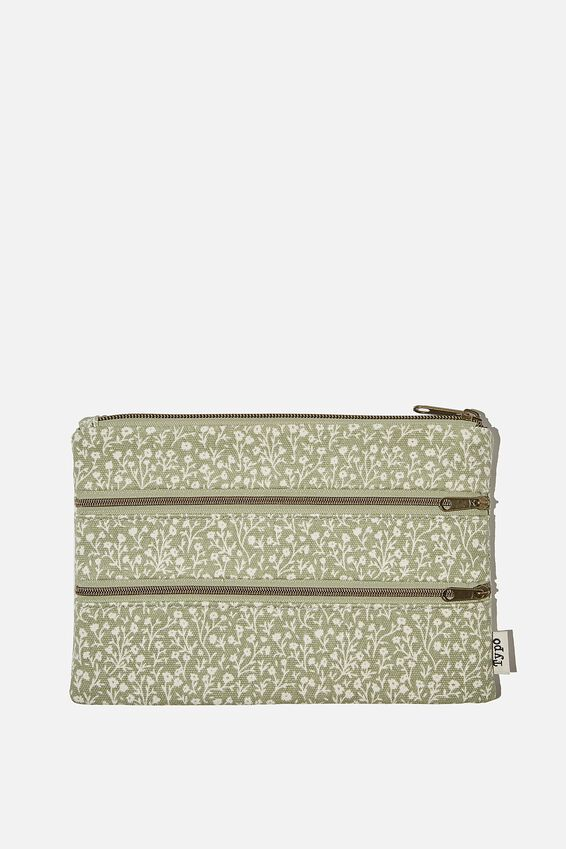 Double Archer Pencil Case, GUM LEAF MEADOW DITSY