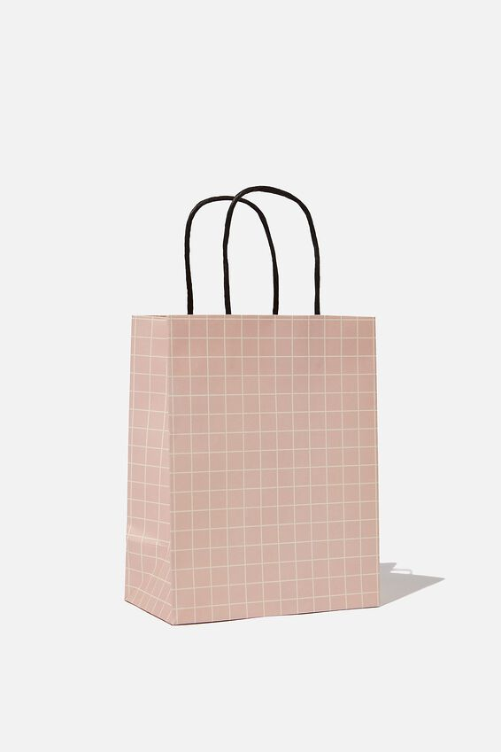Get Stuffed Gift Bag - Small, PINK WHITE GRID