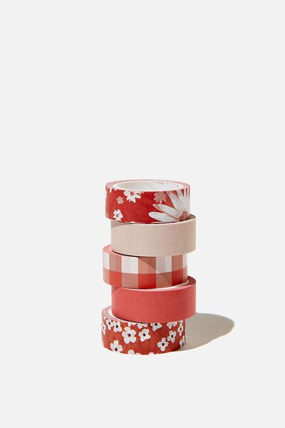 Washi Tape 5Pk, CHERRY BLOSSOM TRUE RED