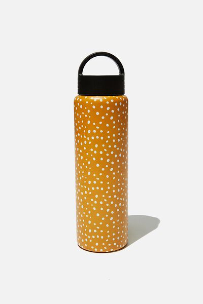 Gotta Go Metal Drink Bottle, MUSTARD POLKA