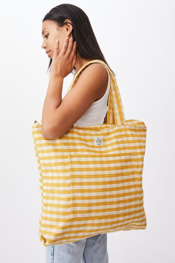 The Daily Tote Bag, YELLOW GINGHAM