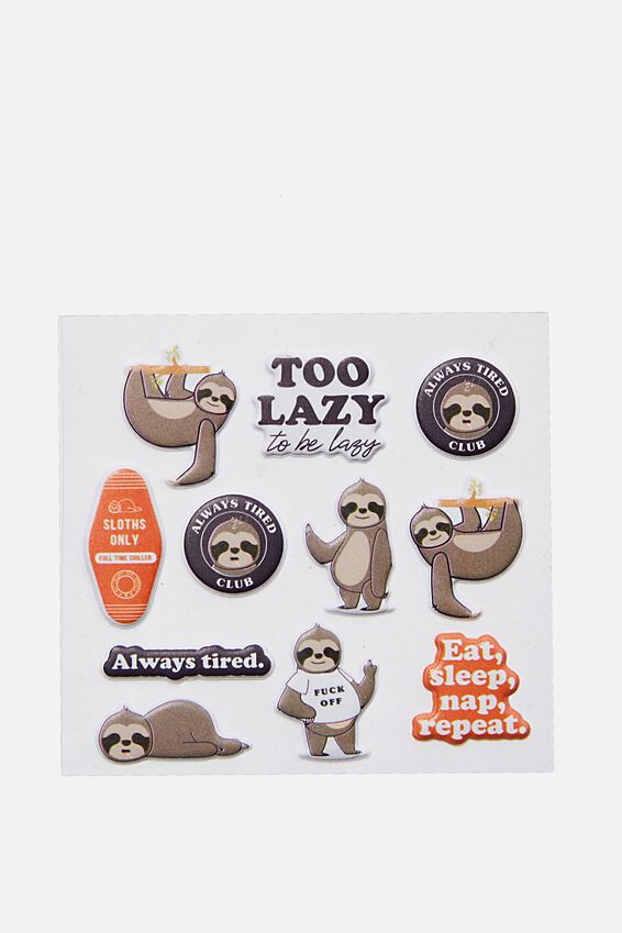 Puffy Sticker Pack, SLOTHS