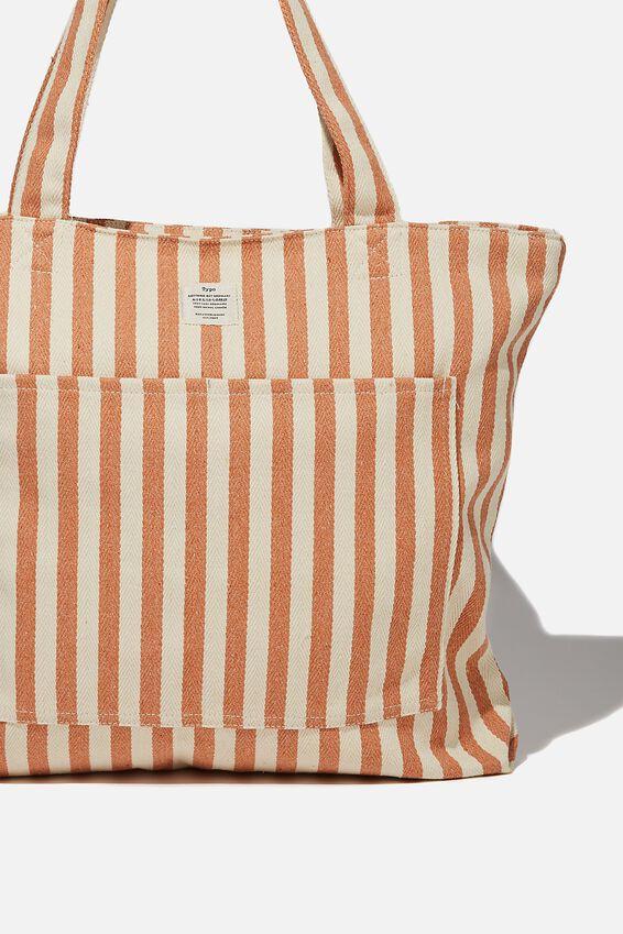 The Daily Tote Bag, PEACH SUMMER STRIPE