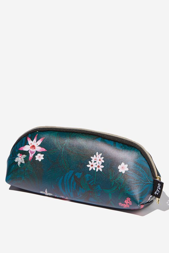 Curved Pencil Case, JUNGLE FLORAL