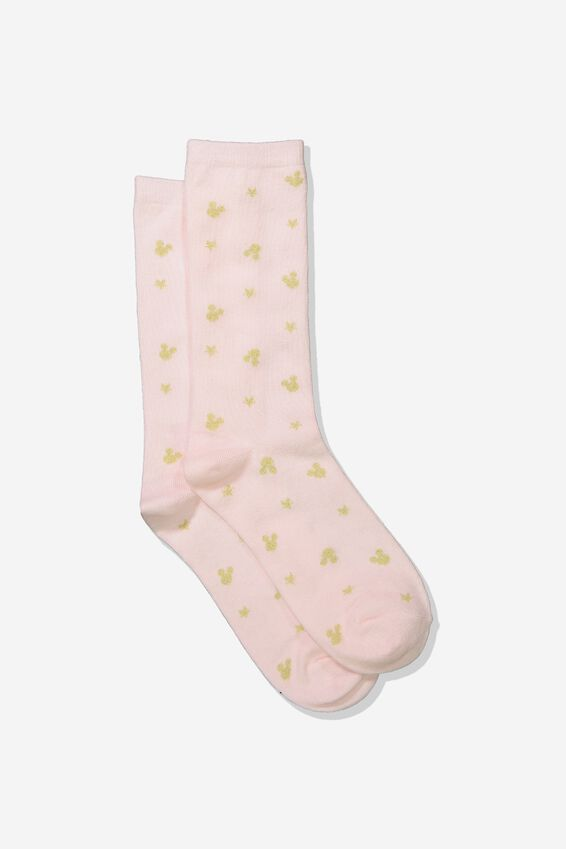 Disney Womens Novelty Socks, LCN GOLD MICKEY HEADS