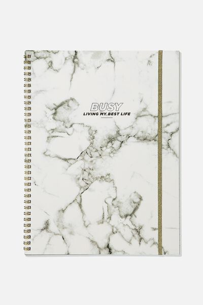 A4 Spinout Notebook Recycled, BUSY WHITE MARBLE