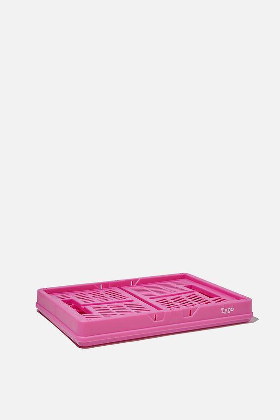 Midi Foldable Storage Crate, MAGENTA
