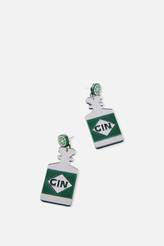 Premium Novelty Earrings, GIN WITH LIME!