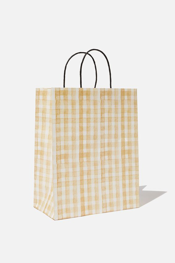 Get Stuffed Gift Bag - Medium, MUSTARD GINGHAM