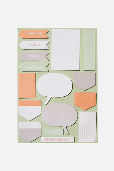 A5 Shaped Sticky Note, GREEN & PINK