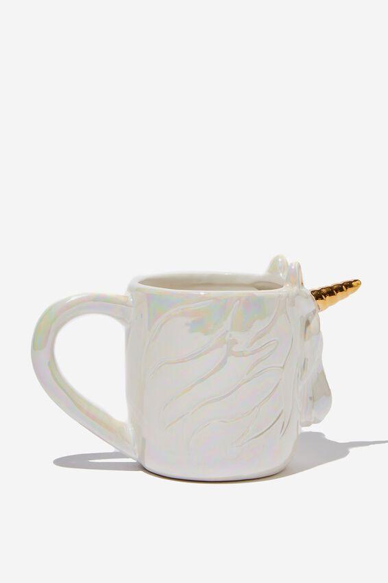 Novelty Shaped Mug, ETCHED UNICORN