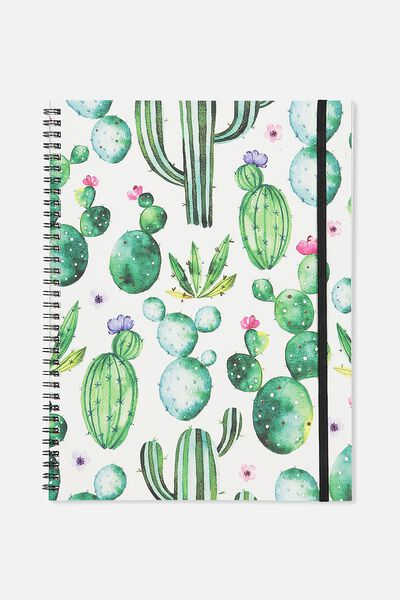 A4 Spinout Notebook - 120 Pages, WATERCOLOUR CACTUS