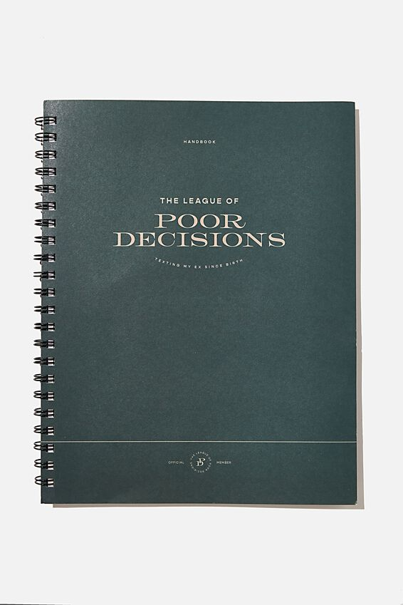 A4 Campus Notebook Recycled, LEAGUE OF POOR DECISIONS GREEN