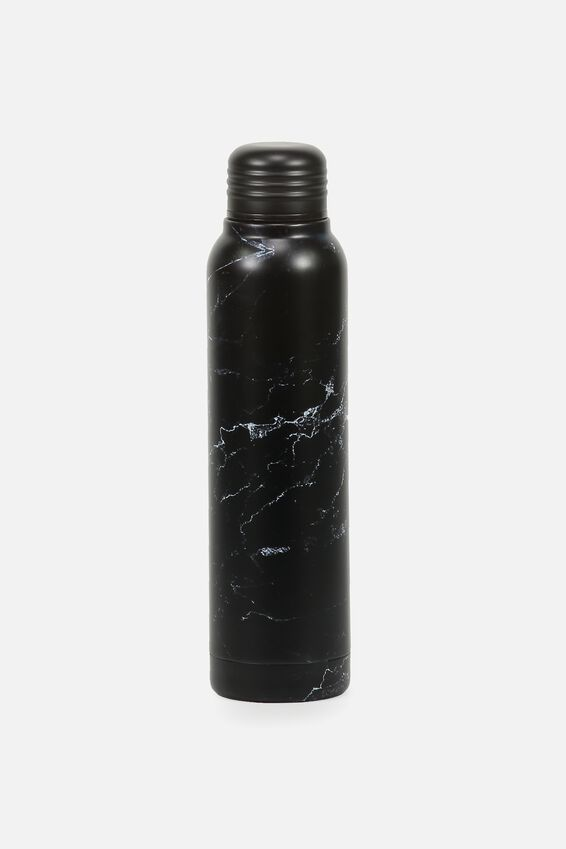 Small Metal Drink Bottle, BLACK MARBLE