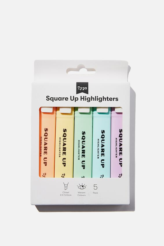 Square Up Highlighter 5Pk, PASTELS