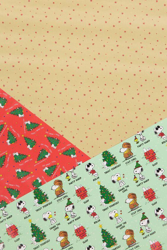 2019 Snoopy Christmas Roll Wrap 3Pk, LCN PEA SNOOPY