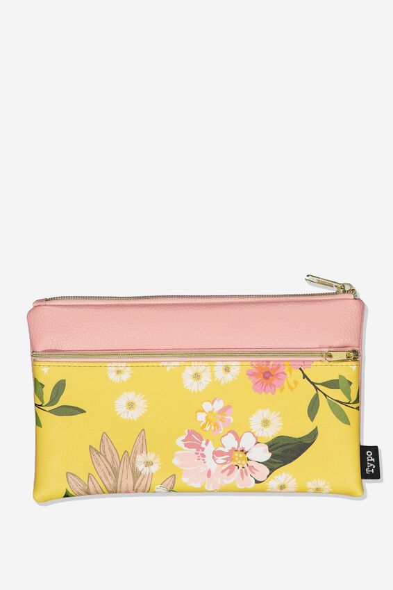 Archer Pencil Case, YELLOW FLORAL