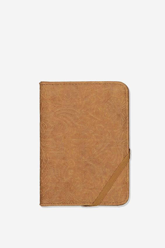 Rfid Passport Holder, WESTERN TOOLED MID TAN